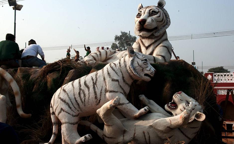 Madhya Pradesh showcases white tigers on its float. The first white tiger was captured in this region by Maharaja Martand Singh in 1951. Firstpost/Naresh Sharma