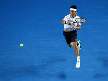 Kei Nishikori plays a forehand in his fourth round match against Jo-Wilfried Tsonga. Getty
