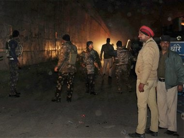 Security forces personnel during their operation against the militants in Pathankot. PTI