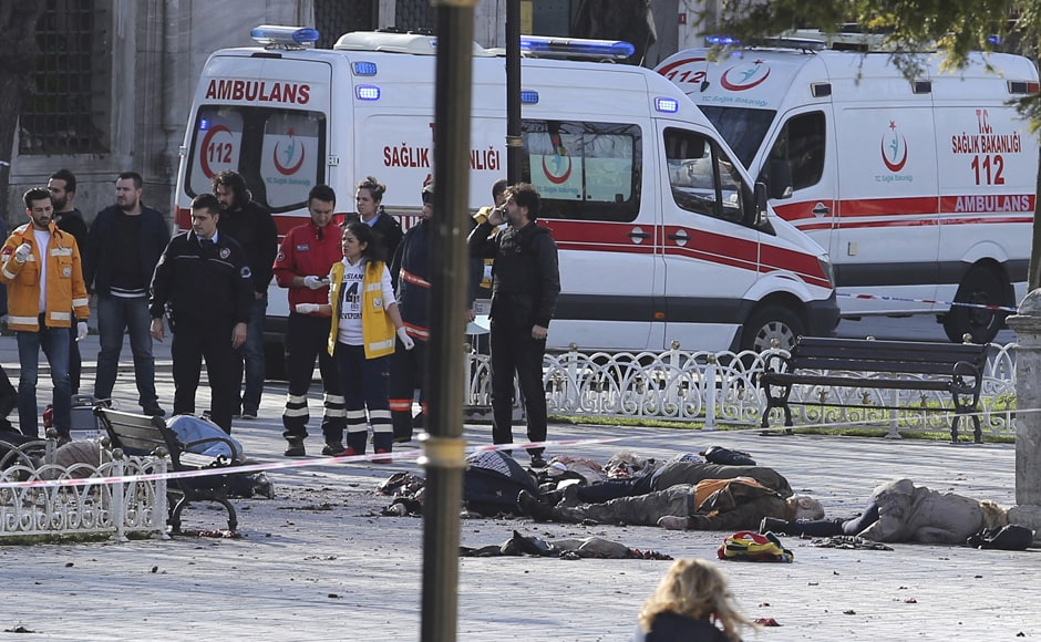 Rescue teams are seen in Istanbul, Turkey after an explosion in the central part of the city on 12 January. Reuters