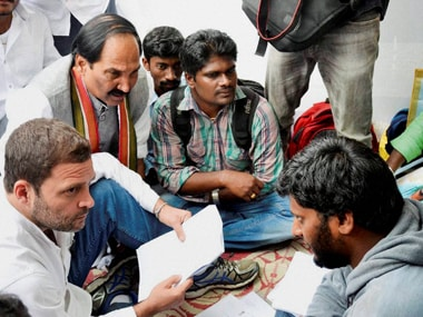 Rahul Gandhi speaks to students of the Hyderabad University. PTI