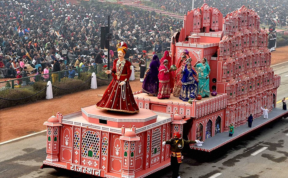 Vibrant parades and colourful cultural programmes and tableaux highlighting the cultural legacy and achievements of states marked the Republic Day celebrations. The majesty and grandeur of the palaces in Rajasthan are depicted in the Rajasthan tableau as women perform Rajasthani folk dance. PTI