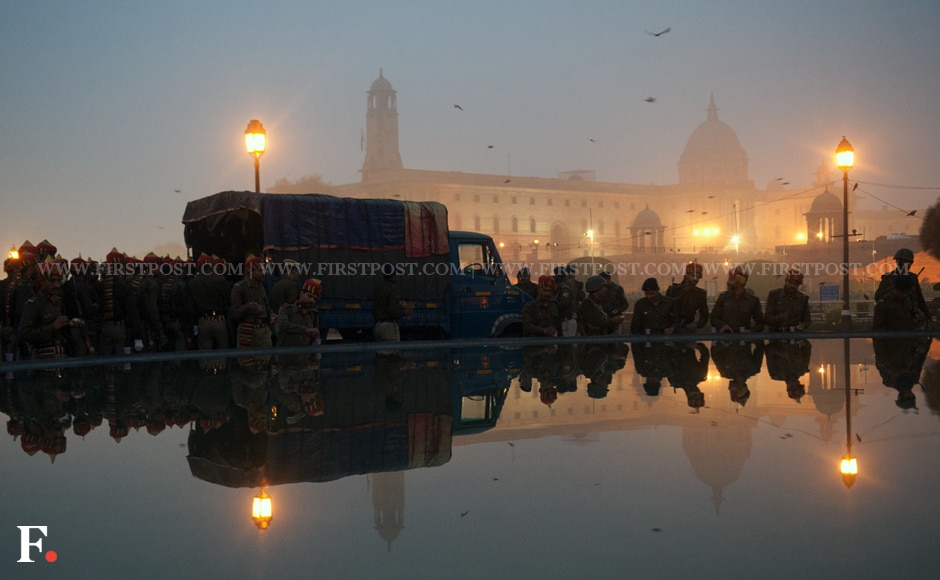 Security forces prepare for a rehearsal for the Republic Day in Delhi. Naresh Sharma/Firstpost