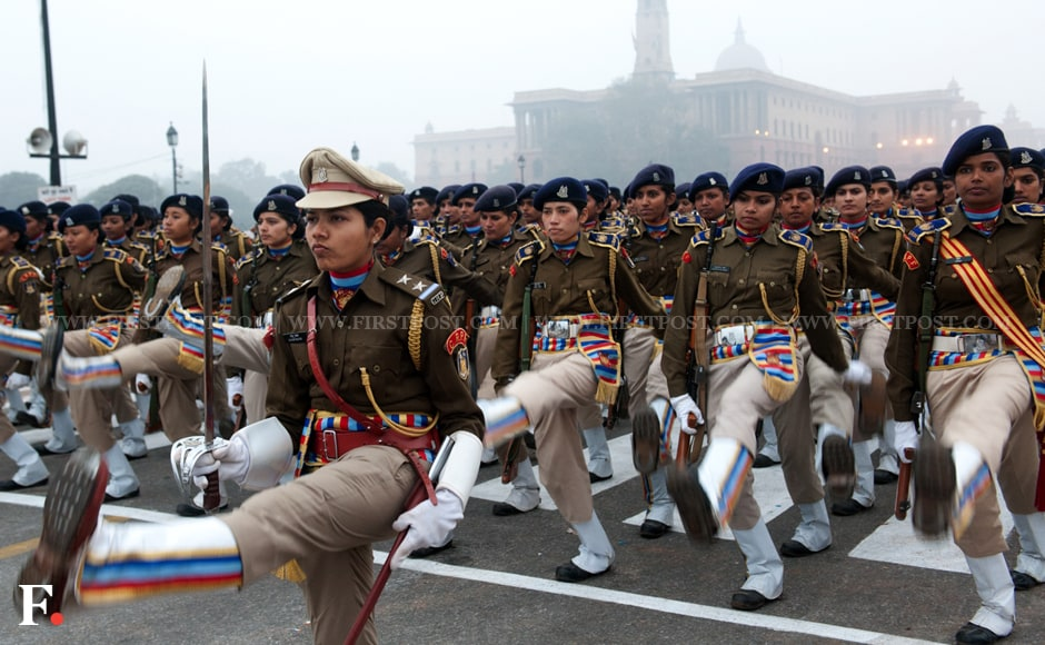 Woman security personnel march during a rehearsal for the Republic Day. French president Francois Hollande will be the chief guest at the event. Naresh Sharma/Firstpost