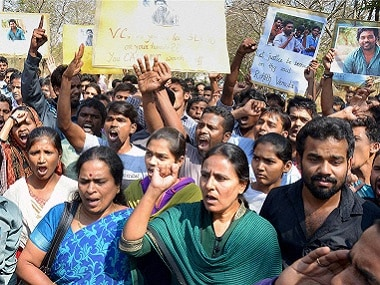 Protests following the death of Rohith Vemula. PTI