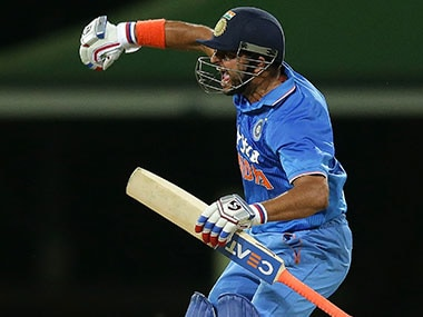 Suresh Raina celebrates after hitting winning runs off the last ball to help India clinch a thriller in 3rd T20I at the SCG. Getty