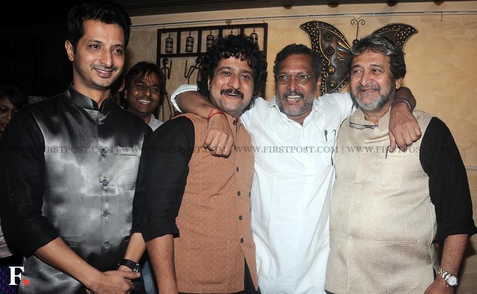 Nana Patekar, Mahesh Manjrekar with cast and crew members of Natsamrat. Sachin Gokhale/Firstpost