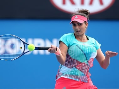 Sania Mirza during her first round mixed-doubles match at the Australian Open. Getty