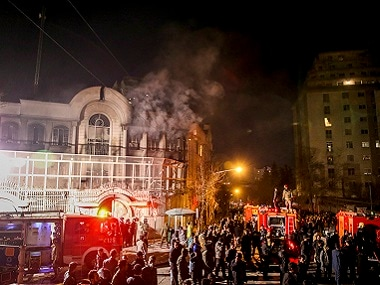 File image of Iranian protesters setting fire to the Saudi embassy in Tehran. AP
