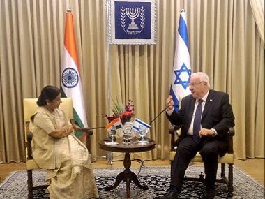 External Affairs Minister Sushma Swaraj meets President in Jerusalem. Twitter @MEAIndia