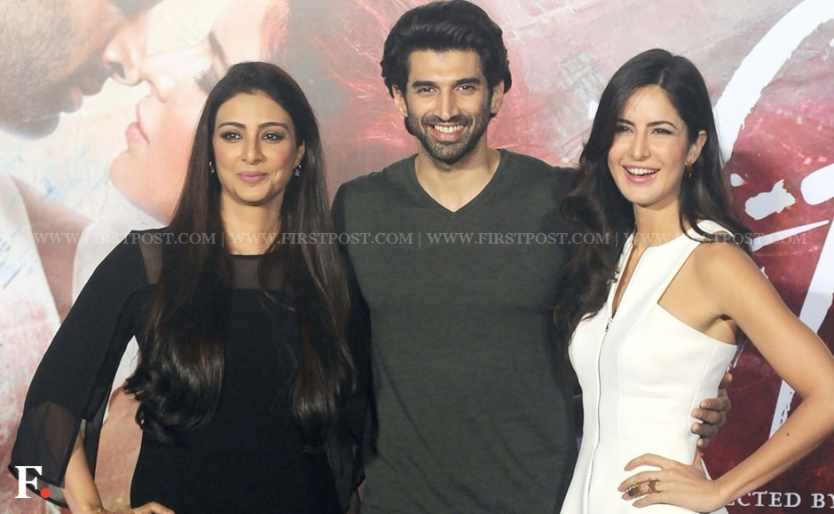 Aditya Roy Kapoor poses with his two female costars, Tabu (left) and Katrina Kaif (right). Their movie Fitoor is said to be based on the Charles Dickens novel Great Expectations. Sachin Gokhale/Firstpost