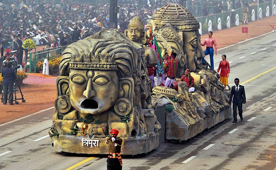 The Tripura tableau showcased Unakoti sculptures. PTI