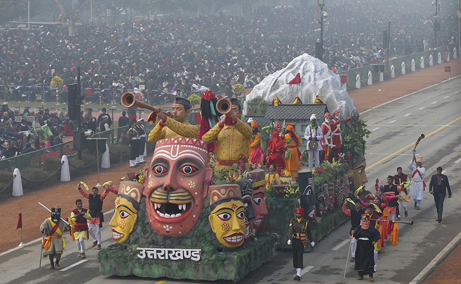 The Uttarakhand tableau depicted the festival of 'Ramman' based on the story of Ramayana. AP