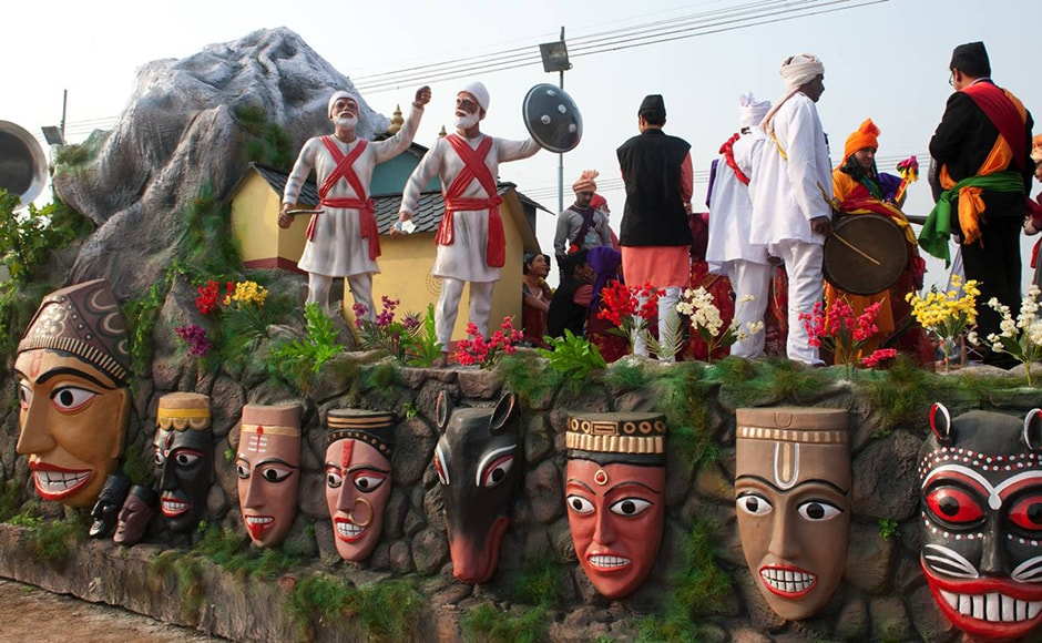 Warriors raise the sword and shield on Uttarakhand's float. Several states present floats that showcase their region's culture and heritage. Firstpost/Naresh Sharma