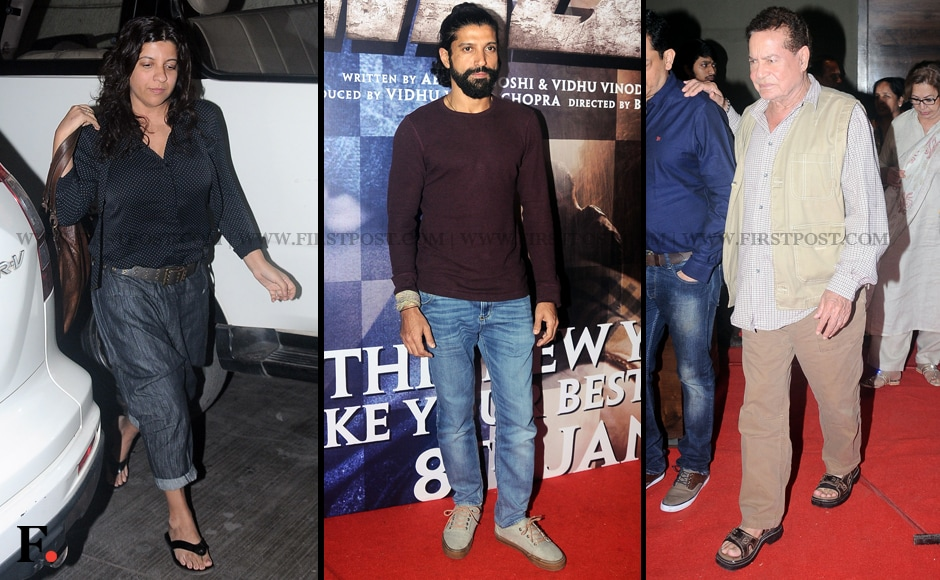 Zoya Akhtar attends the special screening of Wazir, starring her brother Farhan Akhtar (centre) in one of the lead roles. Salim Khan also attended the screening. Sachin Gokhale/Firstpost