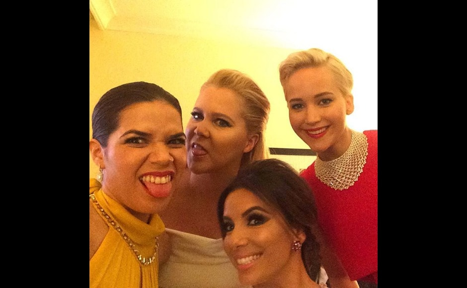 "They were the epitome of poise on the Golden Globes red carpet. But together back stage, America Ferrera, Amy Schumer, Jennifer Lawrence and Eva Longoria don't hesitate making some faces. ""Really good light back here in the presenters green room,"" Ferrera said in her post. Image courtesy: @americaferrera/Instagram"