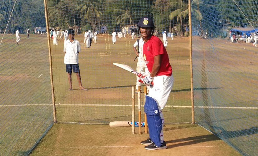 Armaan Jaffer in action in the nets. Photo: Jigar Mehta/Firstpost
