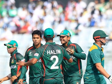 The Bangladesh team celebrates. Image Credit: Official ICC website