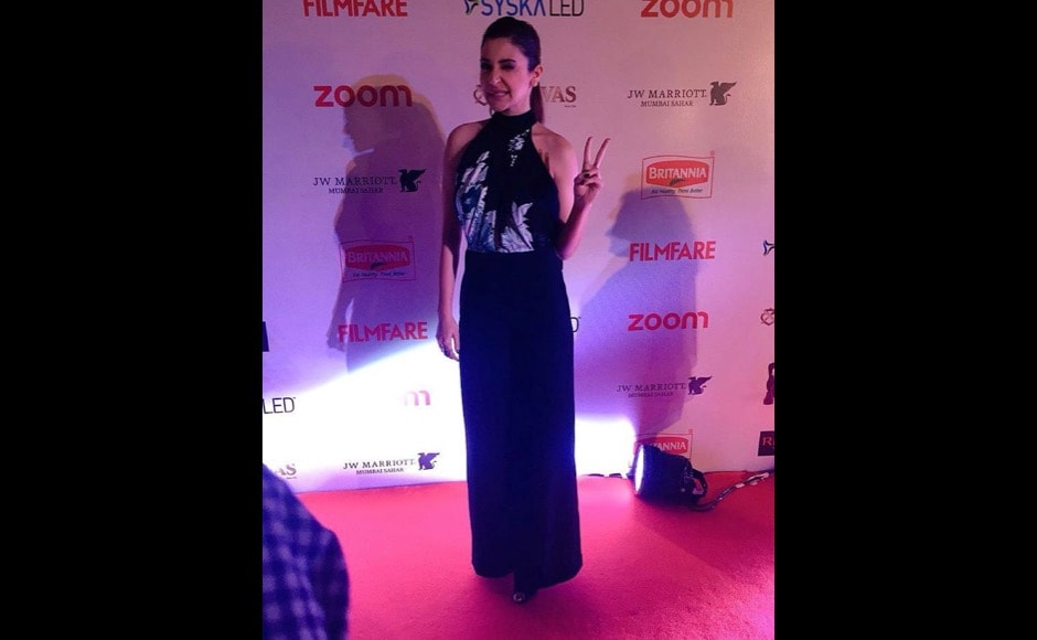 """Wink away!"" says the Film Fare account for sassy Anushka Shankar posing on the red carpet. Image courtesy @filmfare/Instagram"