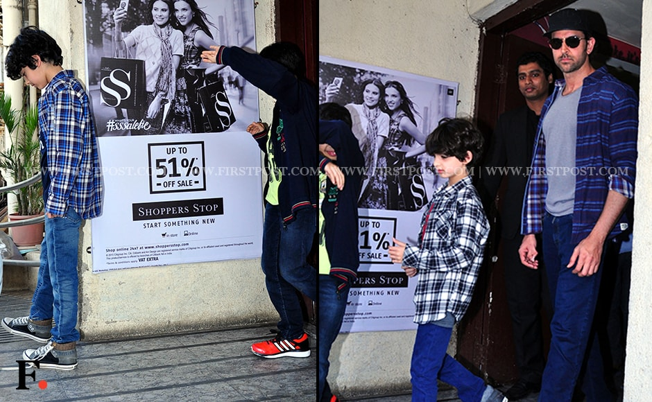 Hrithik Roshan was spotted at PVR theatre in Juhu with his sons Hrehaan and Hridhaan Roshan. Firstpost/Sachin Gokhale
