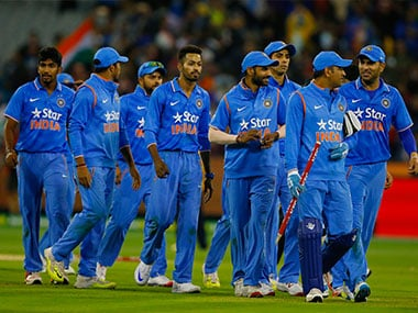 The Indian team after beating Australia at Melbourne. Getty Images