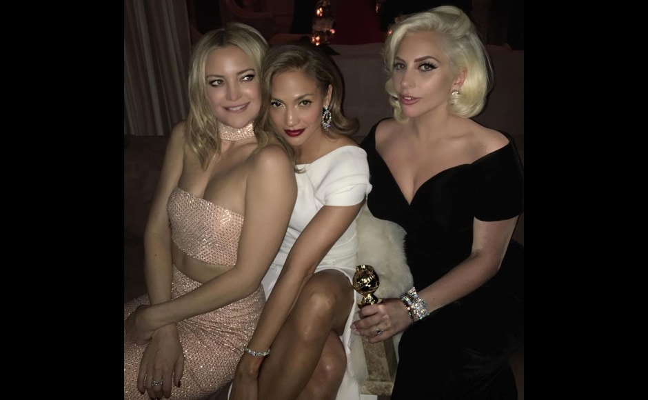 "And here's one from the after party. ""The girls and the globe!! Congrats Gaga! #goldenglobes #CAA #afterparty #katehudson #ladygaga #jlo,"" said Jennifer Lopez on Instagram. Image courtesy: @jlo/Instagram"