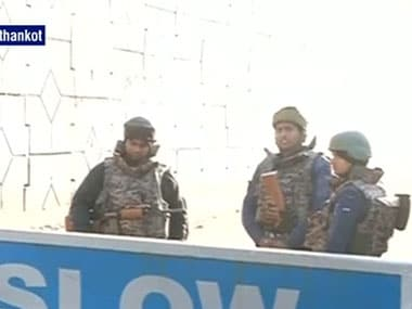 Security forces at the scene of the attack in Pathankot. Ibnlive