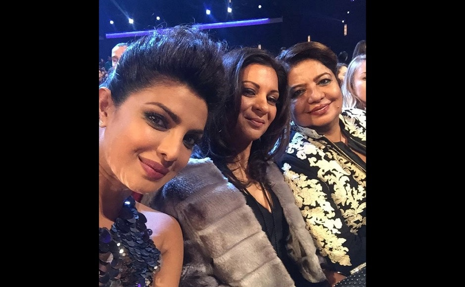 """Me n my dates!! #PCAs last night! @anjulaacharia @madhuchopra"" Piggie Chops who bagged an award for Quantico at the People's Choice Awards said on Instagram. Image courtesy: @priyankachopra/Instaagram"