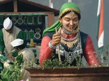 A colourful float marching down Rajpath. Screengrab.