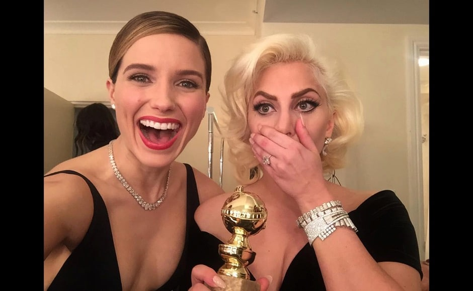 "And here Sophia Bush is with Lady Gaga. ""our girl WON!! #OneChicago alright! ❤️ you @ladygaga #goldenglobes,"" she said on this post. Image courtesy: @sophiabush/Instagram"