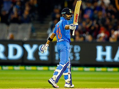 Virat Kohli celebrates reaching his half-century in 2nd T20I against Australia at Melbourne Cricket Ground. Getty