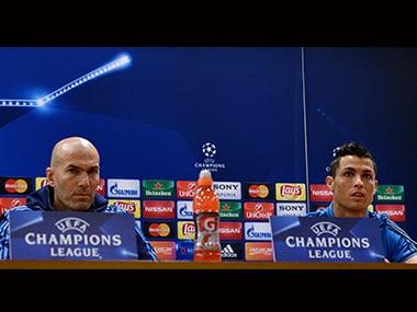 Real Madrid's coach Zinedine Zidane and forward Cristiano Ronaldo address a press conference. AFP