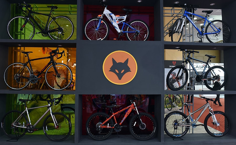 Firefox bicycles on display at Auto Expo 2016 in Greater Noida some 45kms east of New Delhi. AFP/Prakash Singh