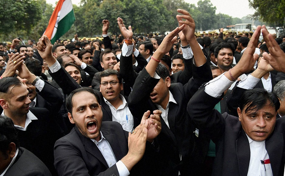 "One of the lawyers protesting in the march from Patiala House court to India Gate said, ""We are not goons. We are lawyers. We want to tell the media that we are protesting against the anti-national activities."" PTI"