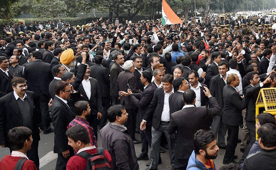 'Bharat mata ki jai', 'Vande Mataram' slogans were heard along with 'Pakistan murdabad' as the lawyers marched from outside the Patiala House court. PTI