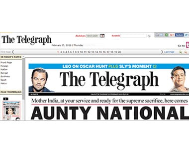 The Telegraph frontpage on February 25, 2016