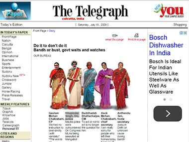 The Telegraph's frontpage on July 18, 2009