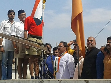 Congress workers hoisted the national flag at the RSS office in Indore. Debobrat Ghose/Firstpost