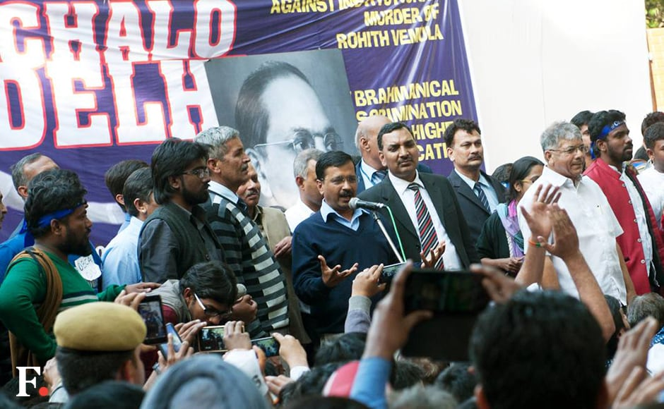 "In his address, Delhi Chief Minister Arvind Kejriwal said, ""If Modiji does not mend ways then very soon the youth and students will come together to teach him a lesson."" He added, ""I had said earlier, 'Modiji students se pange mat lena' (don't mess with students). Otherwise they will rock your government and you won't have a clue."" Naresh Sharma/Firstpost"