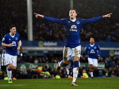 Ross Barkley of Everton celebates after scoring his team's third goal from the penalty spot during the Barclays Premier League match between Everton and Newcastle United. Getty
