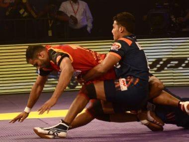 Bengaluru Bulls and Bengal Warriors in action. Image: Pro Kabaddi