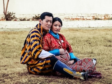 King Jigme Namgyel Wangchuck and Queen Jetsun Pema pose at Paro Ugyen Pelri Palace in Bhutan in a file photo. AFP / Royal Office for Media Bhutan