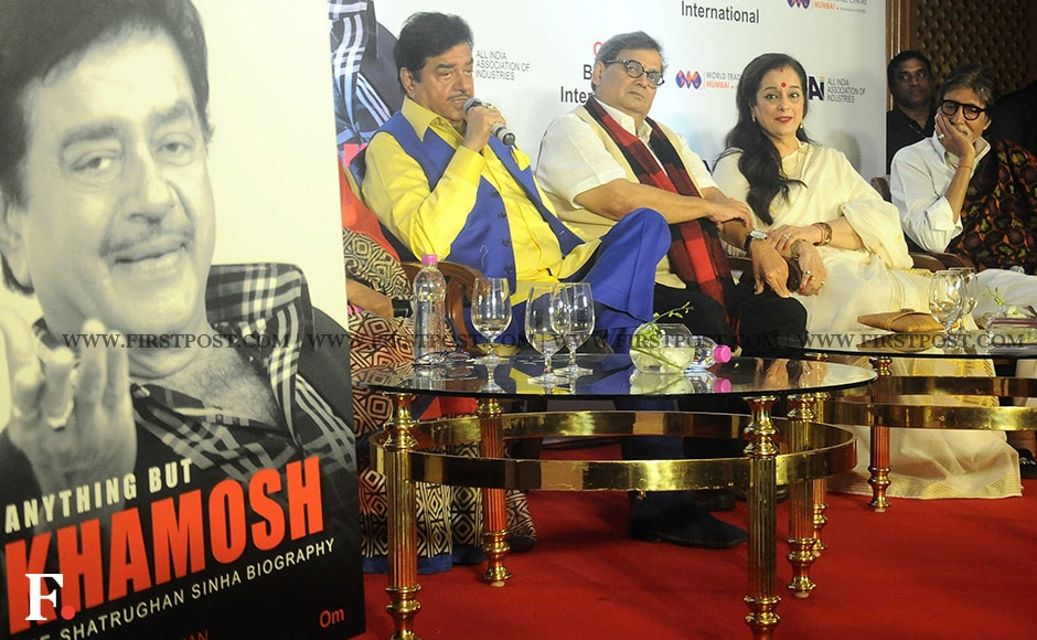 Shatrughan Sinha addresses the audience at the launch of his biography Anything But Khamosh. Joining him on stage are Subhash Ghai, Poonam Sinha and Amitabh Bachchan. Sachin Gokhale/ Firstpost