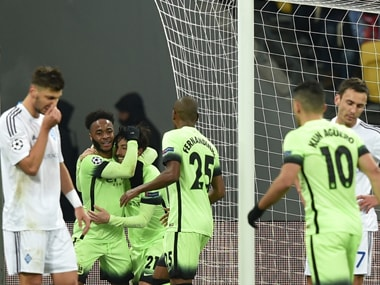 Manchester City's David Silva celebrates a goal. AFP
