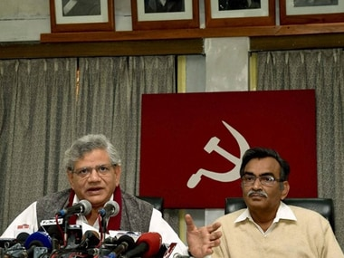 CPM's Sitaram Yechuri (left) and Surya Kanta Mishra hoped to oust TMC through CPM-Congress alliance in Bengal. PTI