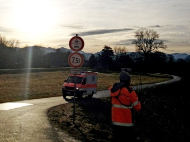 Two regional trains crashed near Bad Aibling, southern Germany. Rescue operation under way. AP