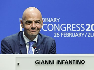 Newly elected FIFA president Gianni Infantino at a news conference in Zurich on Friday. Reuters