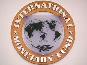 The IMF logo. AFP