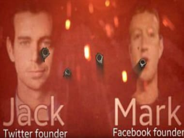 The grab of the video circulated by the IS which shows images of Twitter CEO Jack Dorsey (left) and Facebook CEO Mark Zuckerberg (right) riddled with digitally added bullet holes.
