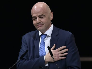 New FIFA president Gianni Infantino in Zurich on Friday. AFP